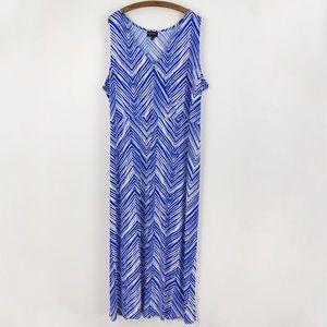 Lane Bryant Blue White Chevron V Neck Maxi Dress